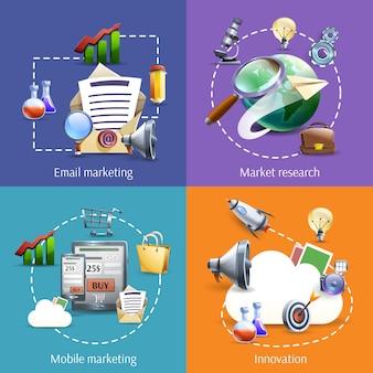 Цифровой маркетинг 4 плоских икон квадратных