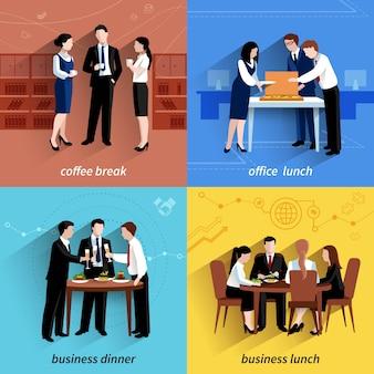 ビジネスオフィスの昼食休憩とコーヒーポーズ4フラットアイコン構成の四角いバナー