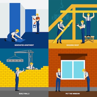 建物の建設4つのフラットなアイコンの正方形