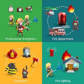 消防士4つのアイコン正方形の組成