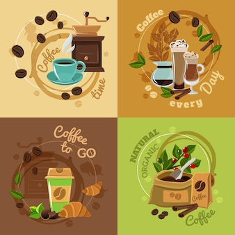 コーヒーの概念4フラットアイコンの正方形
