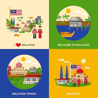 マレーシア文化4フラットアイコンスクエア
