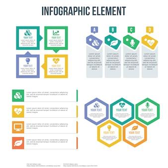 プレゼンテーション用の4つのインフォグラフィックテンプレート