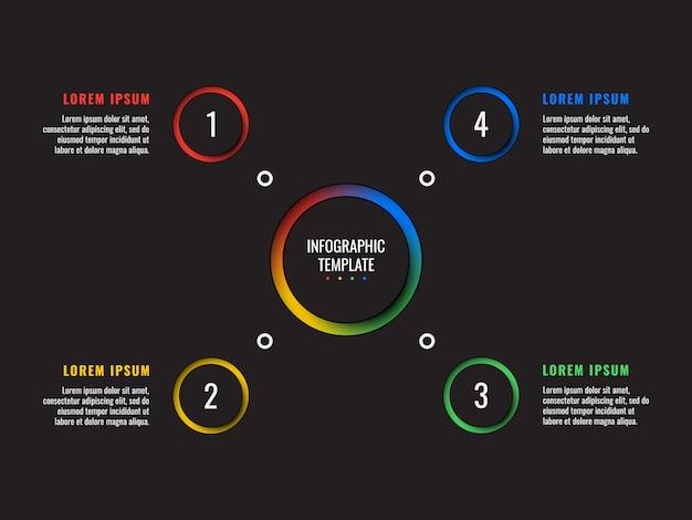 ラウンドペーパーカット要素を持つ4つのステップインフォグラフィックテンプレート