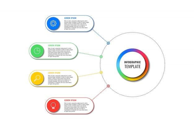 白い背景の上の4つの丸い要素を持つインフォグラフィックテンプレート。細い線のマーケティングアイコンによる現代のビジネスプロセスの可視化。