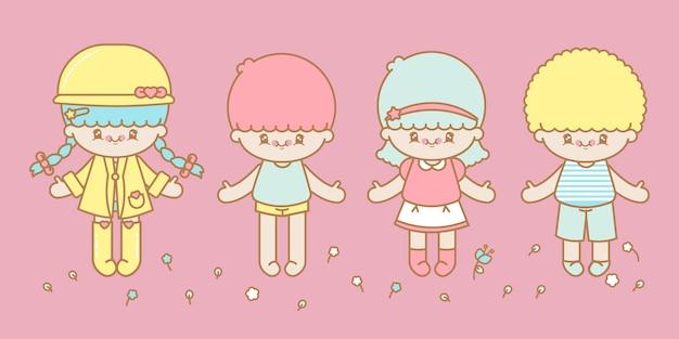 4人のかわいいスタイルの子供