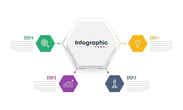 ビジネステンプレートのインフォグラフィック要素の4つの異なるステップ