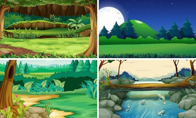 昼と夜の4つの自然の風景