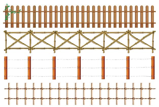 木製のフェンスのイラストの4つのデザイン