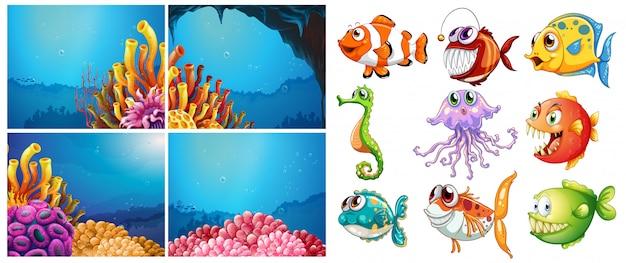 海の動物たちと水中の4つのシーン
