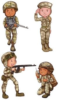 白い背景に4人の勇敢な兵士の簡単な図