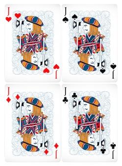 古典的なデザインのジャックの4つのポーカーカード