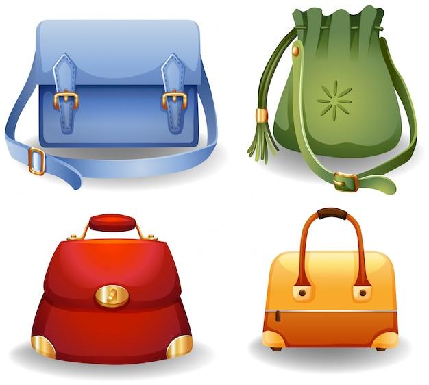女性のファッションバッグの4つの異なるスタイルのセット