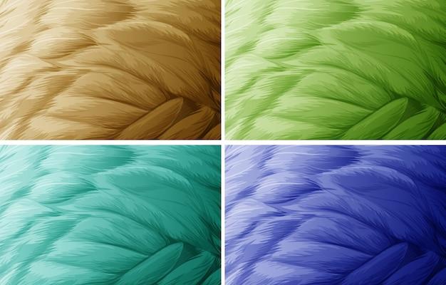 羽毛のテクスチャの4色のイラスト