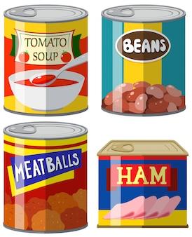 白い背景に4つの缶詰の食品イラスト