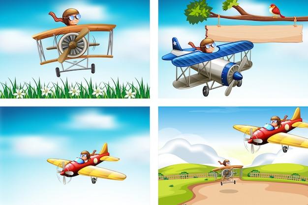 空を飛んでいる飛行機の4つのシーン
