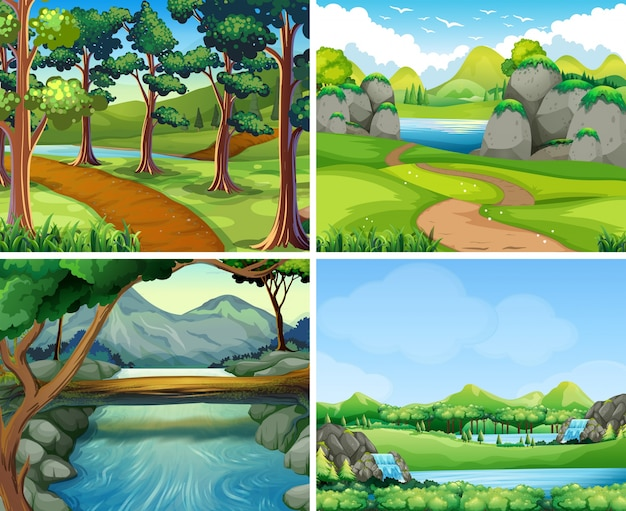 川と木の4つのシーン