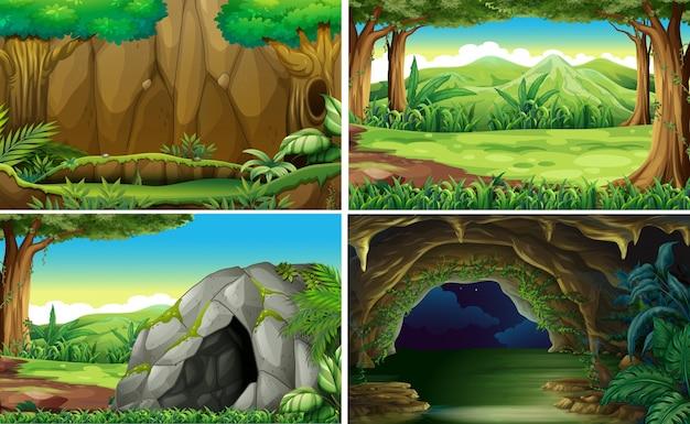 4つの異なる森林の風景