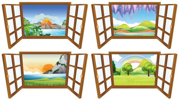 4つの自然のシーンは、ウィンドウを介して