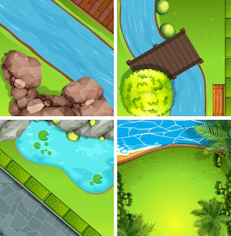 公園の4つのシーンを上から見る