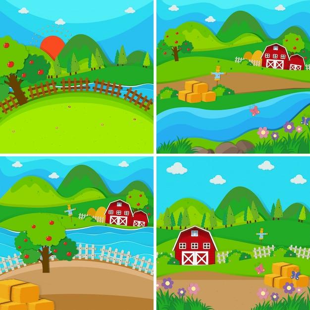納屋とリンゴの木を持つ4つの農場風景