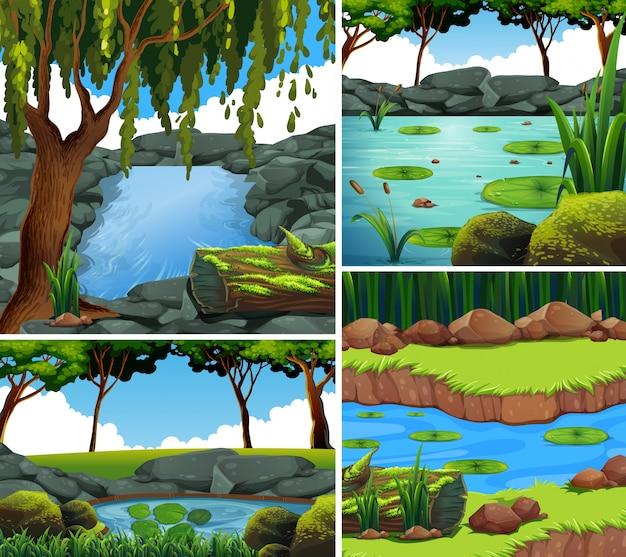 森の中に川がある4つの背景シーン