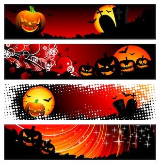 ハロウィーンテーマの4つのバナー