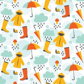 かわいい4月のシャワーのシームレスなパターンデザイン