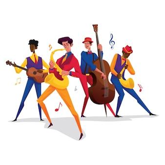 サクソフォンを持つ4人のジャズの人員男性ギターを持つ男性トランペットを持つ男性コントレベースを持つ男性