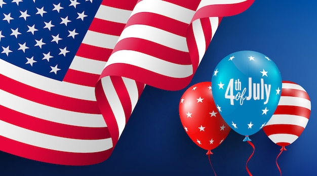 Шаблон плаката 4 июля. празднование дня независимости сша с американским флагом воздушных шаров.