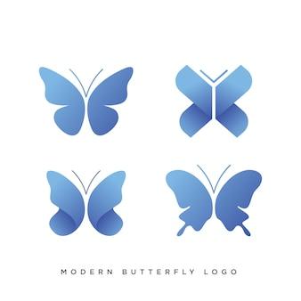 4つのモダンな蝶のロゴのセット