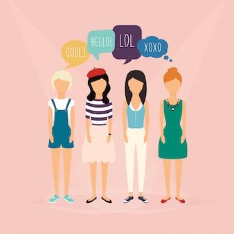 4人の女の子が通信します。ソーシャルメディアの言葉で吹き出し。フィードバック、レビュー、ディスカッションに関連するコミュニケーションの概念図。