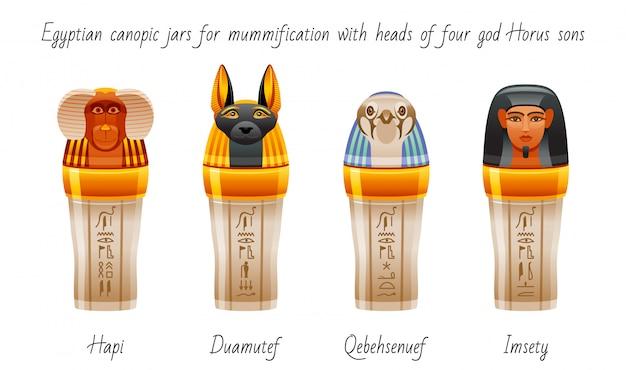 内臓を保存するためのミイラ化に使用される古代エジプトの天蓋瓶。来世のシンボルセット。ホルスの4人の息子の頭のデザイン。
