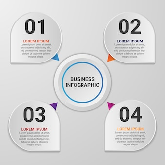 4つのオプションまたは手順を持つグラデーションビジネスインフォグラフィック要素