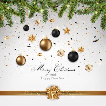 モミの小枝と装飾品4のクリスマスの背景