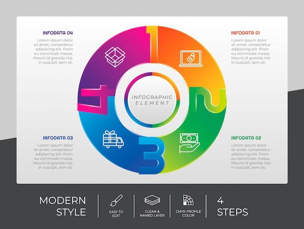 4つのオプションとプレゼンテーションの目的のためのモダンなスタイルのサークルステップインフォグラフィックデザイン。ステップのインフォグラフィック