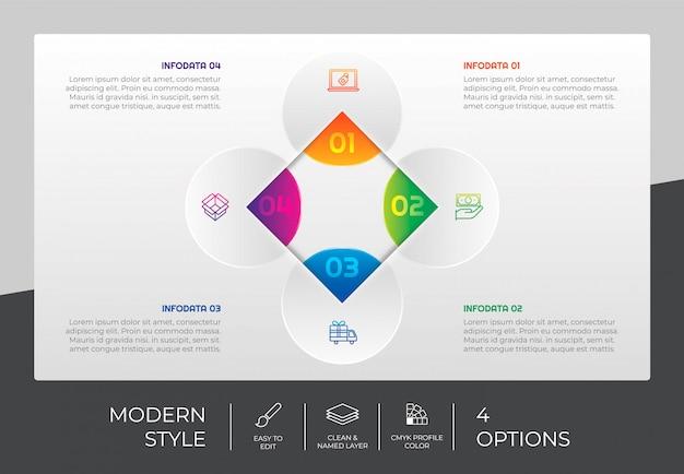 プレゼンテーション用の4つのオプションとカラフルなスタイルのサークルオプションインフォグラフィックデザイン。モダンなオプションのインフォグラフィック