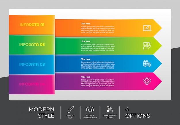 4つのオプションとモダンなデザインのワークフロー矢印インフォグラフィックデザイン。オプションのインフォグラフィックは、プレゼンテーション、年次報告書、およびビジネスの目的で使用できます。