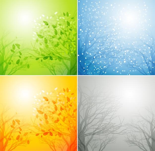 4つの異なる季節の木
