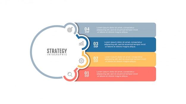 マーケティングアイコンとタイムラインインフォグラフィックデザインテンプレート。 4ステップ、オプションのビジネスコンセプト。