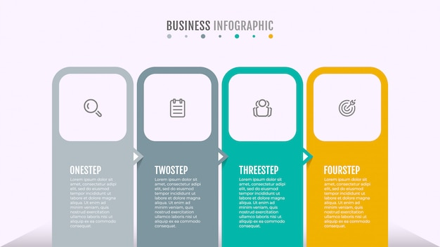 ビジネスインフォグラフィック。アイコンと4つのステップまたはオプションを含むタイムライン。矢印の付いたプロセスグラフテンプレートデザイン。