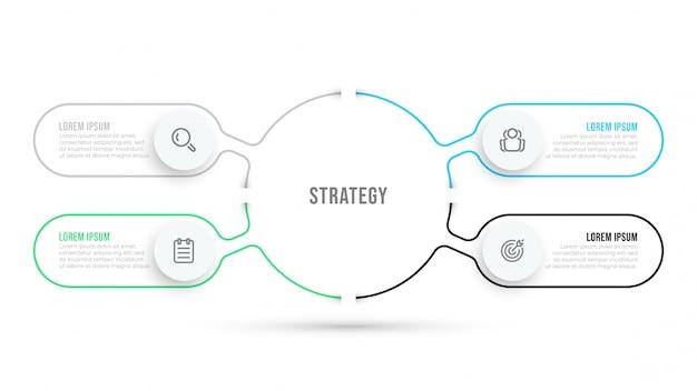 細い線フラットインフォグラフィックテンプレート。アイコンと4つのオプションまたはステップを備えたビジネスデータ視覚化デザイン。