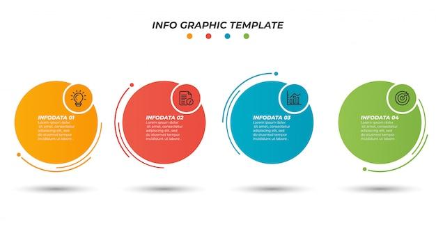 細い線プロセスとインフォグラフィック紙レイアウトデザインテンプレート。 4つのオプション、手順のビジネスコンセプト。