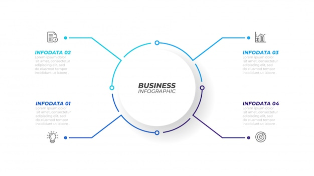 Тонкая линия инфографики элемент с формы круга для брошюры. бизнес-концепция с 4 вариантами, шагами или процессами. векторная иллюстрация может использоваться для диаграммы рабочего процесса, годового отчета, веб-дизайна.