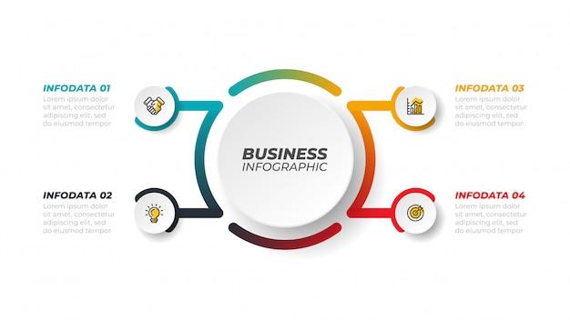 ベクターインフォグラフィックは、矢印の付いたラインを処理します。 4つのステップ、オプションのビジネスコンセプト。