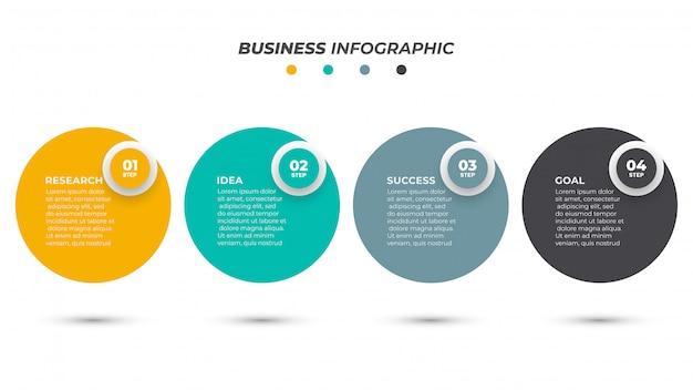 番号オプションを持つサークルインフォグラフィックテンプレートデザインラベル。 4ステップのビジネスコンセプト