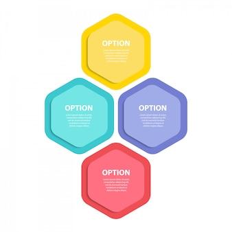 インフォグラフィックテンプレート。 4つのステップ図。