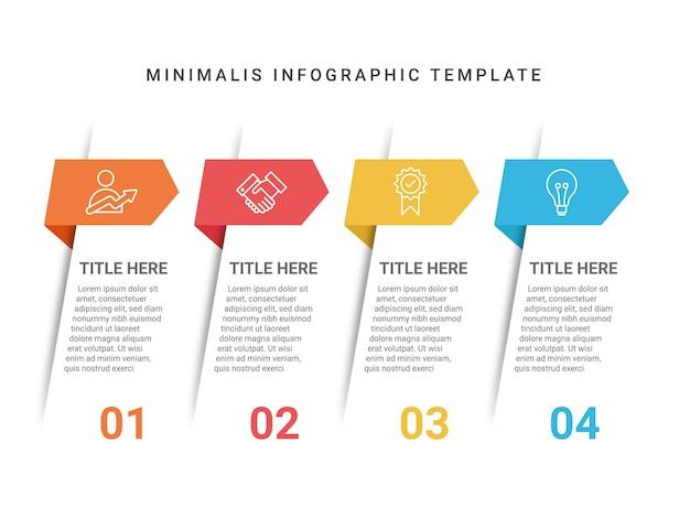 4ステップミニマリスインフォグラフィックテンプレート