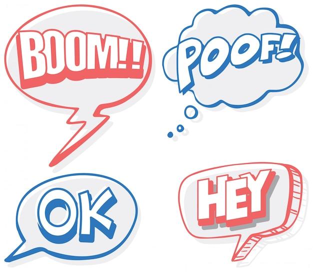 4つの単語のスピーチ泡バナー