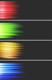 光り輝くライト付きの4つのバナーデザイン